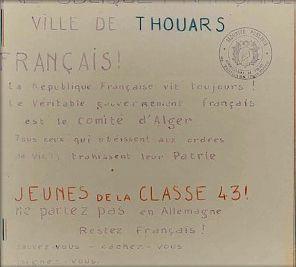 Affiche clandestine contre le STO (1943) Thouars © Conservatoire de la Résistance Deux-Sèvres